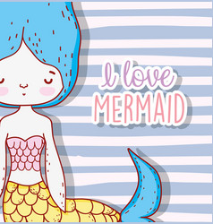 Magic mermaid woman with hairstyle and tail vector