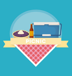 Picnic food emblem vector