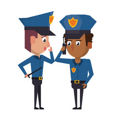 Policemen working avatar cartoon character vector