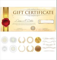 premium gift certificate template vector image