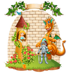 Princess in tower and knight with dragon pet vector