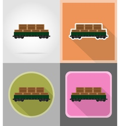 Railway transport flat icons 12 vector