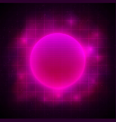 Retrowave style pink red sun in pink nebula on vector