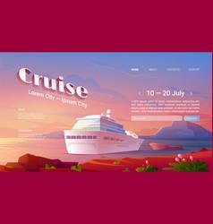 sea liner cruise cartoon landing page book ticket vector image
