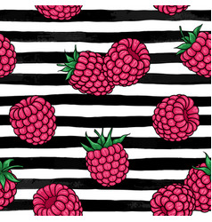 seamless pattern pink raspberries with black vector image