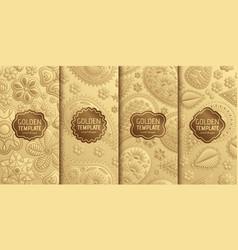 set golden luxury templates abstract geometric vector image