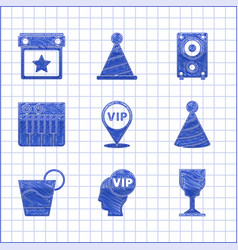 Set location vip inside head wine glass party vector