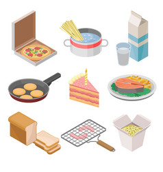Set of 9 isometric food icons italian vector