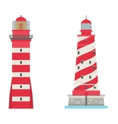 set of cartoon flat lighthouses vector image