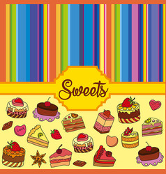 Set of different sweets sweets background vector