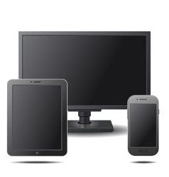 Set of Electronic Devices with Black Blank Screens vector image