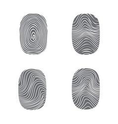 set of fingerprint in black silhouette on white vector image