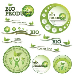 Set of green bio and organic badges vector