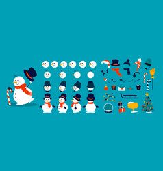 Snowman animation kit christmas construction vector