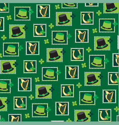 st patricks day stamp pattern vector image