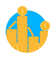 stack of golden coins icon vector image