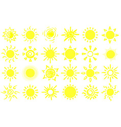 summer sun sketch hand drawn suns warm sunrise vector image