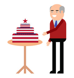 the man is standing near the cake with the vector image