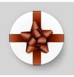 White Box with Shiny Brown Bow and Ribbon vector