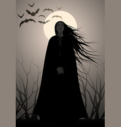 Woman silhouette of with long black hair dressed vector