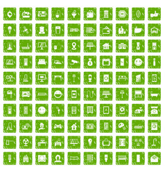 100 smart house icons set grunge green vector image vector image