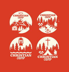 set of logos of a christian camp vector image vector image