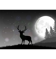 Silhouette of a deer standing vector image vector image