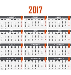 Calendar for 2017 Week starts on Monday vector image vector image