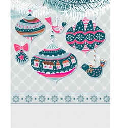 Christmas card with decorations vector image