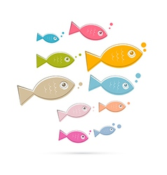Colorful Abstract Fish Isolated on White Bac vector image vector image