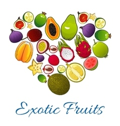 Exotic fruits icons in shape of heart vector image