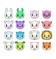 funny animal faces vector image