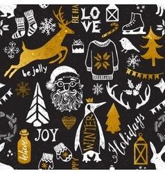 Hand drawn Christmas seamless pattern vector image