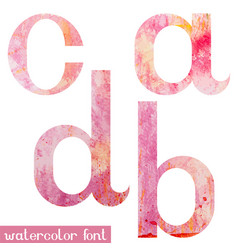pink spring watercolor font letters a b c d vector image