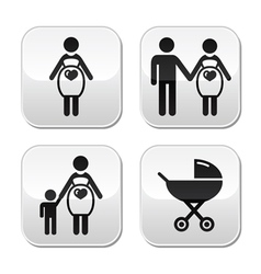 Pregnant woman buttons set vector image vector image