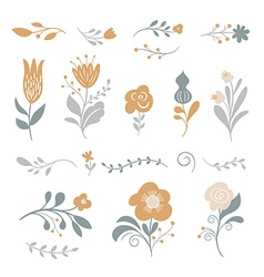 set of graphic floral elements vector image