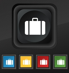 suitcase icon symbol Set of five colorful stylish vector image vector image