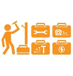 worker and set portfolio with tools for repair vector image vector image