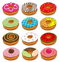 Donuts cute Collection Set vector image