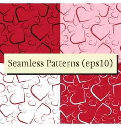 Seamless pattern set with white red and black vector image vector image