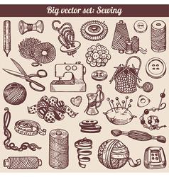 Sewing And Needlework Doodles Collection vector image vector image