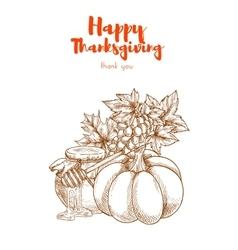 Thanksgiving vegetables harvest retro greeting vector image