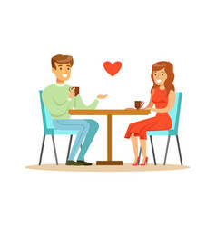 young happy couple in love sitting in cafe vector image vector image