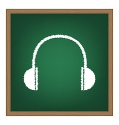 Headphones sign White chalk effect vector image vector image