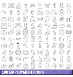 100 employment icons set outline style vector