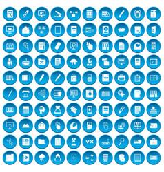 100 folder icons set blue vector