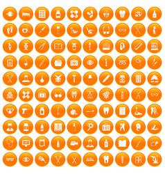 100 medical accessories icons set orange vector