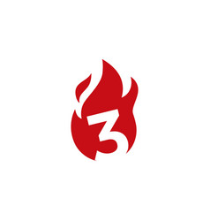 3 three number fire flame logo icon vector