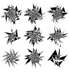 9 different edgy shattered shape set abstract vector