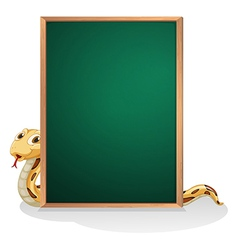 A snake at the back of an empty board vector